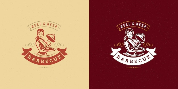 Barbecue logo   grill steak house or bbq restaurant menu  waitress with dish silhouette