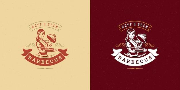 Барбекю логотип гриль стейк-хаус или меню ресторана барбекю официантка с силуэтом блюда