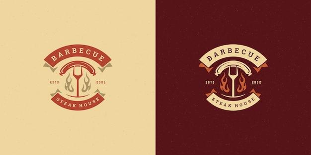 Барбекю логотип иллюстрации гриль стейк-хаус набор