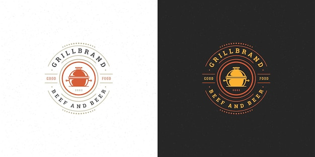 Barbecue logo for steak house or bbq restaurant with grill silhouette