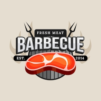 Barbecue logo template with details