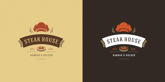 Barbecue logo vector illustration grill house or bbq restaurant menu emblem meat steak