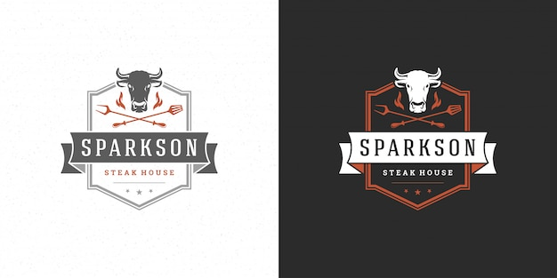 Barbecue logo vector illustration grill steak house or bbq restaurant menu emblem cow head with flame