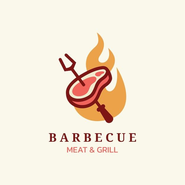 바베큐 로고 벡터 템플릿 음식 또는 그릴 아이콘 일러스트 디자인