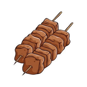 Barbecue meat on stick with colored hand drawn style