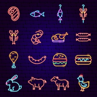 Неоновые иконки для барбекю. векторная иллюстрация продвижения барбекю.