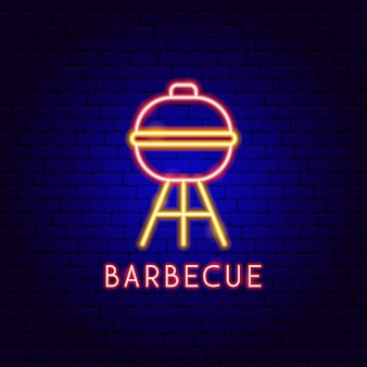 Barbecue neon label. vector illustration of bbq promotion.