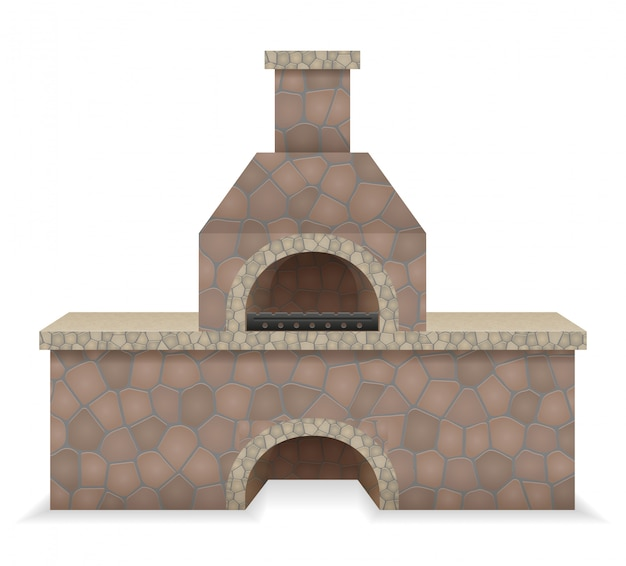 Barbecue oven built of stone