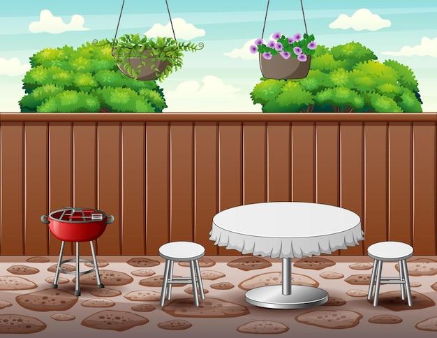 Фон вечеринки с барбекю на заднем дворе