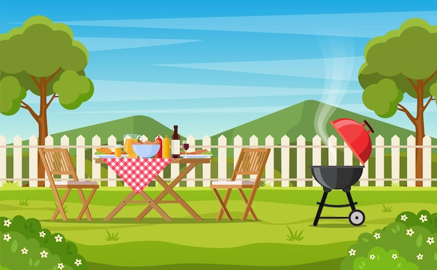 Barbecue party in the backyard with fence