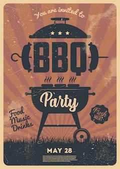 Барбекю вечеринка флаер или плакат дизайн шаблона. винтажный стиль ретро пригласительный билет на барбекю.