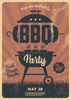 Barbecue party flyer or poster design template. vintage retro style. invitation card for a barbecue.