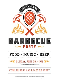 Barbecue party flyer or poster design template