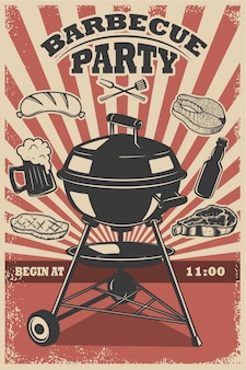 Barbecue party flyer template. grill, fire, grilled meat, beer, butcher tools.  elements for poster, restaurant menu.  illustration