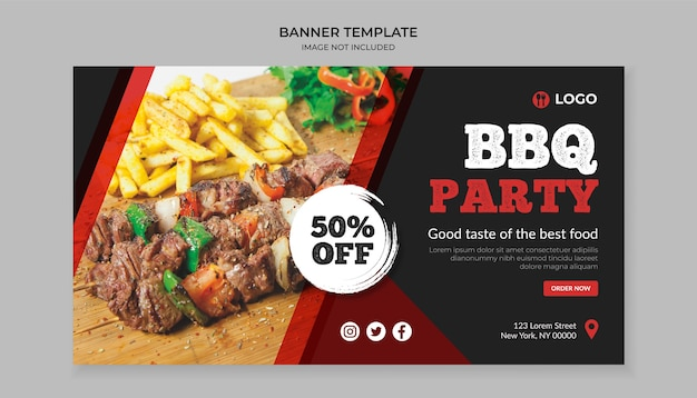 Barbecue party food banner template