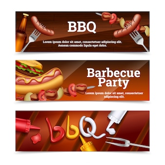 Barbecue party horizontal banners with hot dog skewer hamburger and sauce set