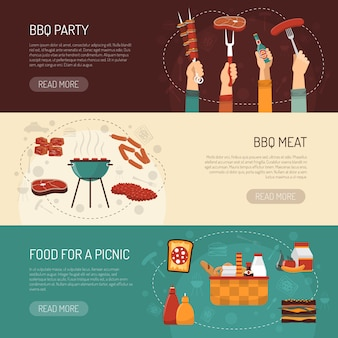 Barbecue party horizontal banners