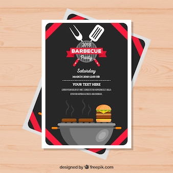 Barbecue party invitation in flat style