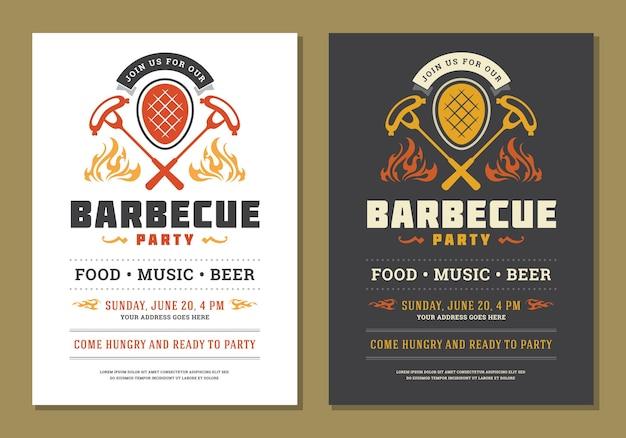 Приглашение на барбекю-вечеринку или дизайн плаката