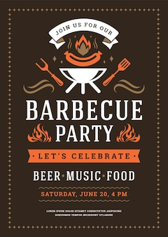 Barbecue party invitation flyer or poster design template
