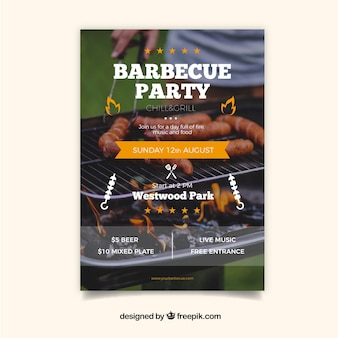 Barbecue party invitation with photo