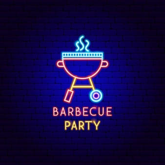Barbecue party neon label. vector illustration of bbq promotion.