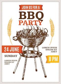 Плакат барбекю-вечеринки для пикника, выходные. рука рисовать эскиз.