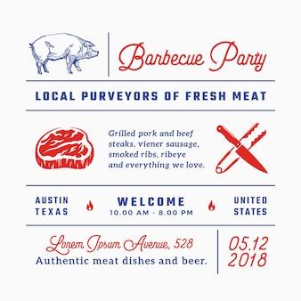 바베큐 파티 표지판, 제목, 비문 및 메뉴 장식 요소 집합입니다.