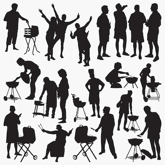 Barbecue party silhouettes