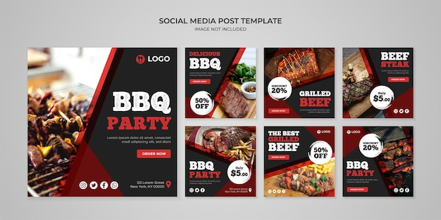 Barbecue party social media instagram post template
