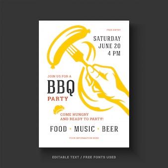 바베 큐 파티 벡터 전단지 또는 포스터 디자인 서식 파일 이벤트 복고풍 타이 포 그래피.