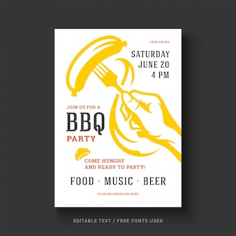 Barbecue party vector flyer or poster design template event retro typography.