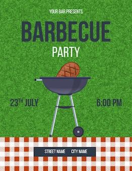 바베큐 파티 수직 발표 포스터입니다. 바베큐 초대장 템플릿입니다. 텍스트를 위한 장소가 있는 여름 야외 주말 이벤트 광고. 메뉴 또는 판촉 만화 벡터에 대한 그릴 음식 디자인