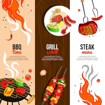 Barbecue party vertical banners set
