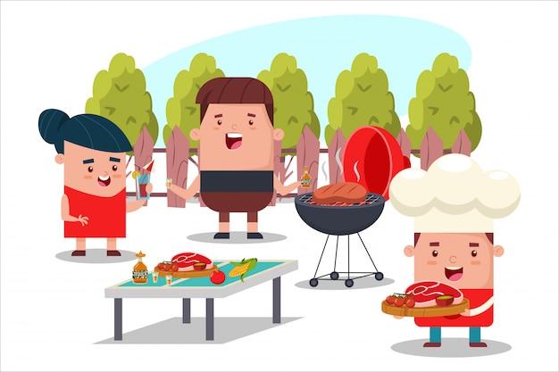 Барбекю вечеринка с друзьями. мультфильм плоский пикник иллюстрация людей на заднем дворе.