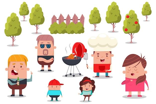 幸せな家族や友人の漫画イラストとバーベキューパーティー。
