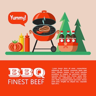 Барбекю, пикник. аппетитный стейк на гриле, корзина для пикника с напитками, кетчуп, горчица, помидор. на фоне леса. вкусный. летний отдых на природе. векторная иллюстрация.
