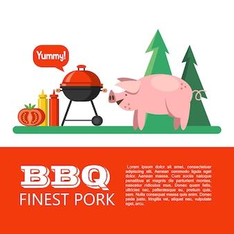 바베큐, 자연에서 피크닉. 숲의 배경에서 귀여운 돼지입니다. 최고급 돼지고기. 텍스트에 대 한 공간을 가진 벡터 일러스트 레이 션.