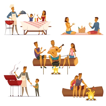 Barbecue picnic outdoor weekend with family and friends 5 retro cartoon compositions icons isolated