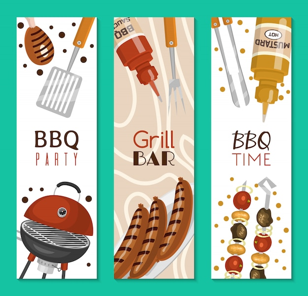 Barbecue picnic party banner meat steak roasted on round hot barbecue grill.