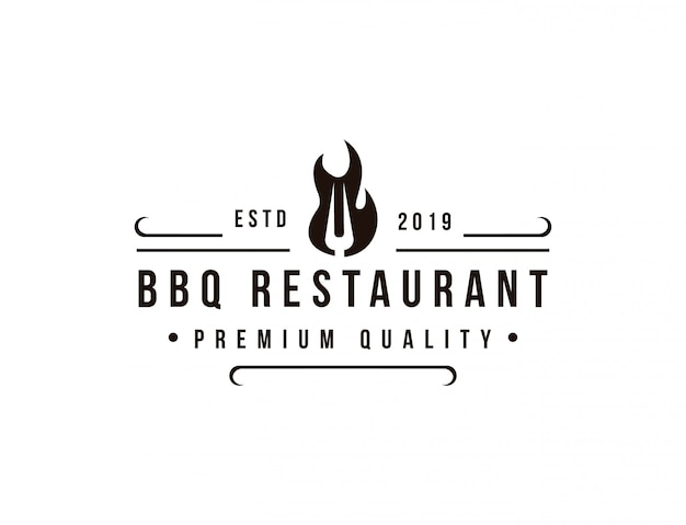 Barbecue restaurant logo template