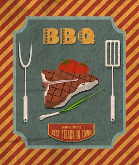 Barbecue retro poster