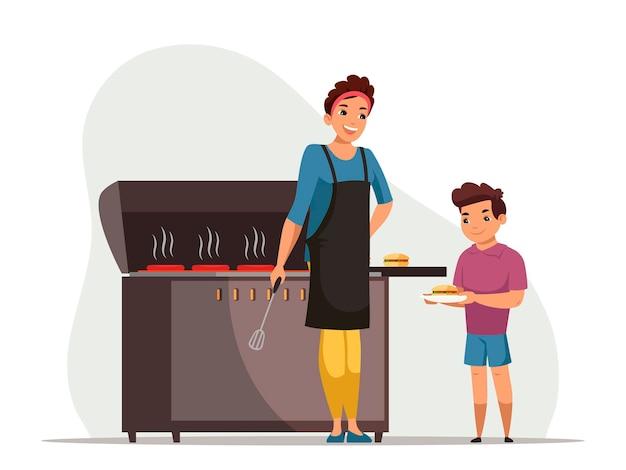 Сцена барбекю. мама жарит мясо, гамбургеры на гриле для сына. женщина готовит на огне. мальчик держит тарелку с гамбургером. семейное времяпрепровождение на выходных. домашняя вечеринка или пикник. векторная иллюстрация персонажей