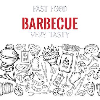 Barbecue seamless border