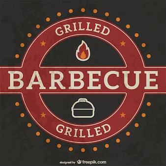 Barbecue service retro label