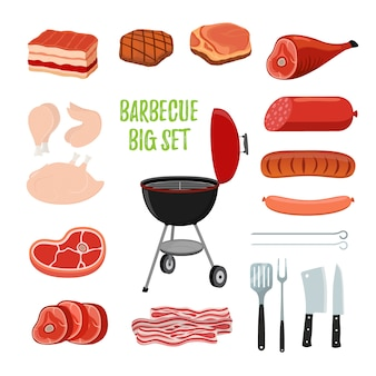 Barbecue set - different meat, bbq stand