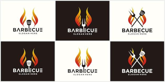 Дизайн логотипа шпатель барбекю гриль еда огонь и шаблон концепции шпателя векторные иллюстрации