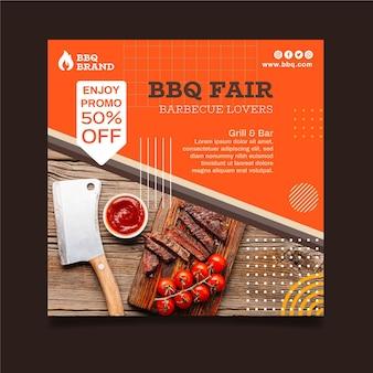 Modello di volantino quadrato barbecue