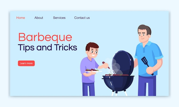 Barbecue tips and tricks landing page vector template. outing website interface idea with flat illustrations. cooking outdoor homepage layout. summertime leisure cartoon web banner, webpage