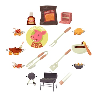 Barbecue tools icons set, cartoon style